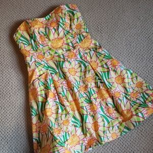 Lily pulitzer blossom strapless dress with pockets
